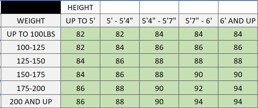 Skyliner Size Chart